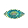 Resin Sew-on Piikki Stones 10pcs 18x40mm Navette Turquoise Aurora Borealis